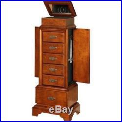 Jewelry Cabinet Storage Armoire 6-drawer Organizer Chest Wood Box Stand Walnut
