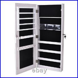 Jewelry Cabinet Wall Door Mounted Mirror 4 Tiers Storage Organizer Box With Lock