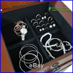 Jewelry Necklace Holder Cabinet Storage Amoire Organizer Wooden Drawer With Mirror