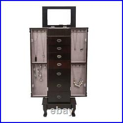 Jewelry Wood Cabinet Armoire Large Storage Chest Box Stand Bedside Cabinet