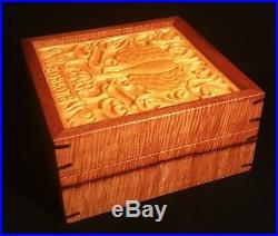 KOA WOOD aloha oe jewelry box table art pottery tile hawaiian music bird flower