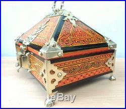 Kerala Treasure Jewelry Box Wooden Mural Painted Brass Trinket Dowry Netoor box