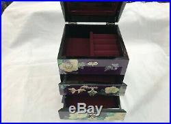 Korea Mother of Pearl Wood 3 stage Oriental Treasure Jewelry Ring Box Purple UK