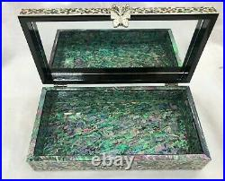 Korea Mother of Pearl Wood Hak Oriental Treasure Multi Mirror Jewelry RingBox UK