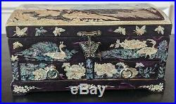 Korea Mother of Pearl Wood Purple Lacquer Oriental Treasure Jewelry Ring BoxNew