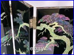 Korea Traditional Inlaid Mother of Pearl Chinoiserie Oriental Min Folding Screen