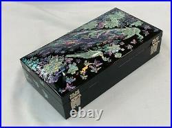 Korea Traditional Inlaid Mother of Pearl Handmade Chinoiserie Oriental Nacre Box