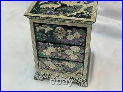 Korean Inlaid Mother of Pearl Handmade Chinoiserie Oriental Mini Drawer Cabinet