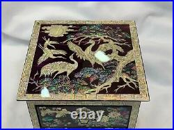 Korean Inlaid Mother of Pearl Handmade Chinoiserie Oriental Table Storage Drawer