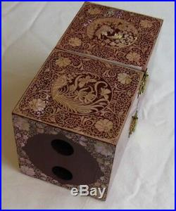 Korean Lacquered Jewelry Box (wooden) with inlaid artwork (05)