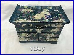Korean Mother of Pearl Wood Black 3-stage Oriental Treasure Jewelry Ring Box