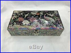 Korean Mother of Pearl Wood Hak Oriental Treasure Multi Mirror Jewelry Ring Box