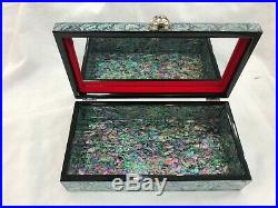 Korean Mother of Pearl Wood Oriental Treasure Multi Mirror Jewelry Ring Box