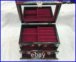 Korean Mother of Pearl Wood Red 3 stage Oriental Treasure Jewelry Ring Box UK
