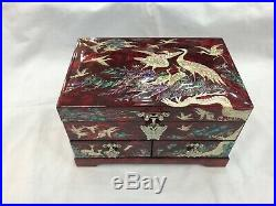 Korean Mother of Pearl Wood Red Lacquer Oriental Treasure Jewelry Ring Box