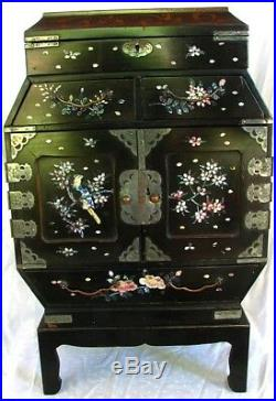 LAEGE INLAID LACQUER CABINET JEWELRY BOX on STAND M. O. P. BIRDS, FLOWERS c. 1870