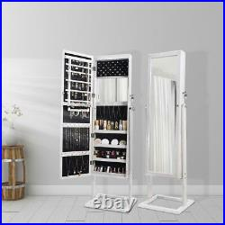 LED Light Jewelry Cabinet Armoire Standing Mirror Makeup Lockable Large Storage