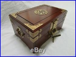 LOCK KEY VINTAGE Lg ASIAN JEWELRY BOX ORNATE BRASS TRIM GOLD SILK LINING WOOD