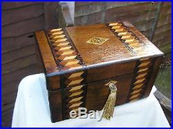 LOVELY c 1880 MARQUETRY INLAID FIGURED WALNUT JEWELLERY BOX TRINKET TRAY LOCKING