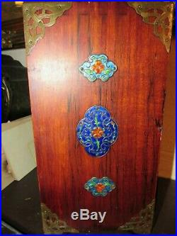 Large 11.5 Rare Chinese Cloisonne Repousse Blue Enamel Wood Jewelry Box