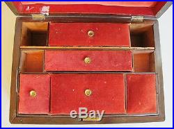 Large Antique 19th C. ENGLISH Rare Wood Jewelry Box c. 1870s 12 x 8.5