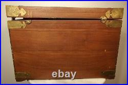 Large Brass and Wood Ornate Vintage Asian Antique Jewelry Chest Box