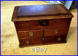 Large Exceptional Antique 4 Drawer Sewing Jewelry Box Folk Art Rare Cigar
