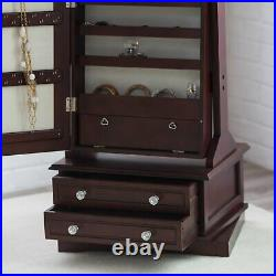 Large Freestanding Swivel Jewelry Armoire Wood Organizer with Full Length Mirror