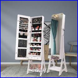 Large Full Mirror Jewelry Cabinet Armoire Box Dressing Mirror with Lock 2 Drawers