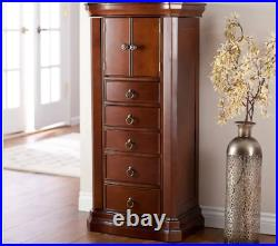 Large Jewelry Armoire Free Standing Vintage Mahogany Cabinet Bedroom Chest Box