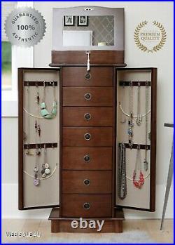 Large Jewelry Box Stand Walnut Wood Armoire Mirrored Organizer 7 Drawer Cabinet