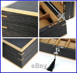 Large Lockable Luxury 10 Ginko Wood Watch Storage Wooden Case Jewellery Box