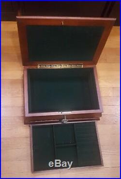 Large Real Wood Jewelry Storage Box with Lock Tassle Key Classy