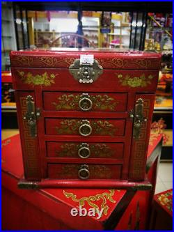 Large Red Chinese Painted Lacquer Dragon Phoenix Jewellery Box with Mirror