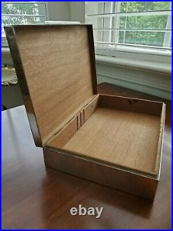 Large Sterling Silver Cigar Jewelry Box Cigarette Case Wood Lined 9 No Monogram