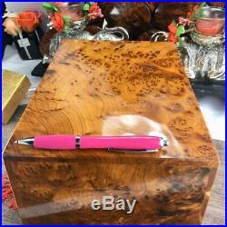 Large Thuya wooden jewelry box, handmade keepsake organizer storage wooden case