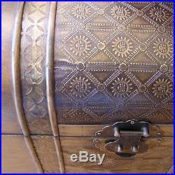 Large Treasure Chest Jewelry Box Walnut Wood Trunk Vintage Storage Old Fashion