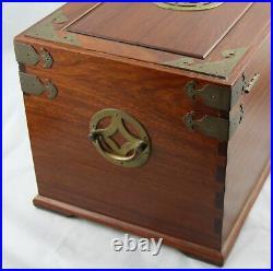 Large Vintage Chinese Japanese Mahogany Brass Mounted Silk Lined Jewelry Box