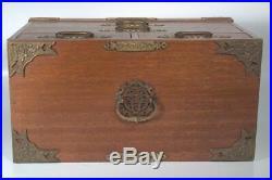 Large Vintage Dresser Top Jewelry Box Wood Metal Trim Detailing Blue Velvet