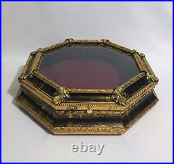 Large Vintage Gold Florentine Wood Octagonal Display Shadow Box Glass Case Italy