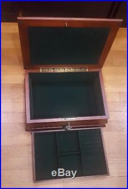 Large Wood Hinge Jewelry Storage Box with Lock Tassle Key