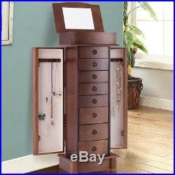 Large Wood Jewelry Storage Floor Chest Stand Cabinet Wooden Organizer Box Mirror