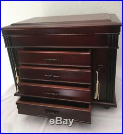 Large Wooden Jewelry Box Storage Chest Organizer Locking Sides Cherry Finish