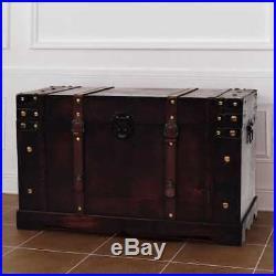 Large Wooden Vintage Treasure Chest Trunk Jewellery Storage Box Case Organiser