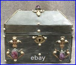 Large antique french Mid-1900's jewelry box metal sheet on wood stones signed