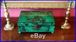 Large faux malachite box wood ball feet french russian empire jewelry document