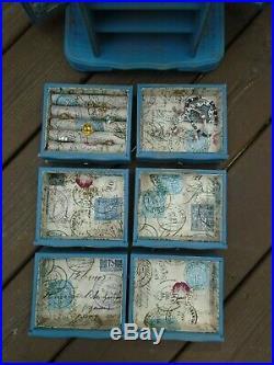Large vintage upcycled wood jewelry box shabby coastal seaside distressed blue