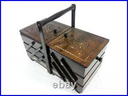 Large wood carved brown fold out box jewelry box sewing box hand made in Poland
