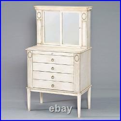 Leven Jewelry Armoire Storage Cabinet Sliding Mirror Door Antique White Drawers