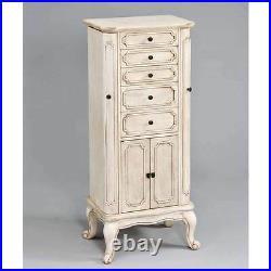 Lief Jewelry Armoire Storage Drawers Cabinet Door Flip Mirror Top Antique White